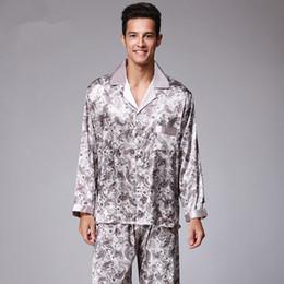 Langärmelige nachthemden online-Herbst Luxus Seidenpyjamas Herren langarm Paisley-Muster Pyjamas Set Silk Satin Nachtwäsche Weiche Nachtwäsche Nachthemd Plus Größe