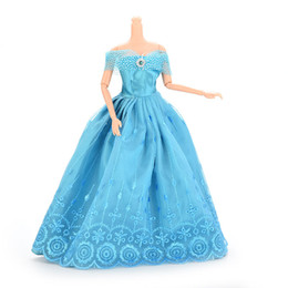 Wholesale Handmade Girls Christmas Clothes - 1 Pcs Handmade Party Doll Dress Clothes Blue Gown Lace Dresses For Barbie Gilr Christmas Gift Dolls Accessories Supplies
