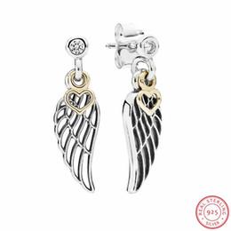 925 Ayar Gümüş Aşk Rehberlik Bırak Küpe Kadınlar Takı için Telkari Melek Kanat Sarkan ile 14ct Altın Kalp FLE042K nereden