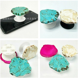 Wholesale chinese cell phones sale - Natural Stone Cell Phone Support Durable ABS Gasbag Mobile Phones Holder Marble Cellphone Grip Glitter Stand Hot Sale 6jx BB