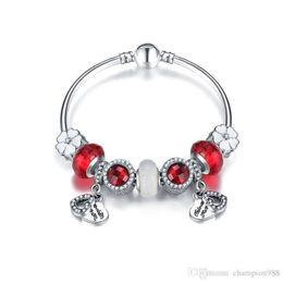 Argentina 2017 Pandora Style Charm Bracelets 925 Sterling Silver Heart Colgante de Cristal Europeo Encantos Beads DangleFor Charm Bracelets Bangles DIY Jewe Suministro