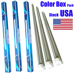 Wholesale Light Shapes - T8 V shaped 8ft led tube lights integrated 2ft 3ft 4ft 5ft 6ft 8 foot cooler door lighting double row shop lights tubes fluorescent fixture