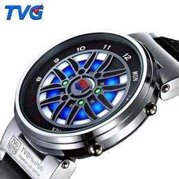 Reloj de la marca tvg online-Top Brand TVG Reloj Led Hombres Creativos Coche Roulette Led Azul Dispaly Binary Watch Hombres Relojes deportivos de moda relogio masculino