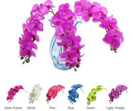 Wholesale decor butterflies weddings - Artificial Butterfly Orchid Silk Flower Home Wedding Party Phalaenopsis Decor LLFA