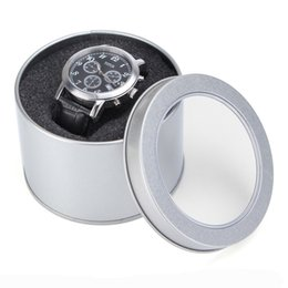 Wholesale Nice Storage - Storage Watch Winder Jewelry Nice Sponge Round Organiser Chic Practical Silver Case Tin Display Gift Box Stylish