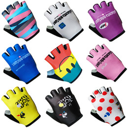 Wholesale Fitness Road - 2018 pro team tour de france Unisex Cycling Gloves Half Finger Outdoor Sports Cycling Racing bike Glovers Fitness MTB Road Bike Gloves C1901