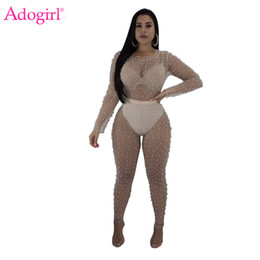662452b07b8 Adogirl Pearls Sheer Mesh Bandage Jumpsuits 2018 Summer Long Sleeve Women Sexy  Rompers Night Club Long Bodysuits Cheap Overalls