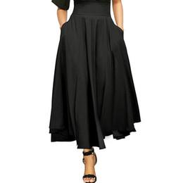 ac5970322b80a High Waist Pleated A Line Skirts Womens Vintage Pocket Skirt Ladies Maxi  Skirt Belted Saia Midi Faldas Mujer harajuku kawaii