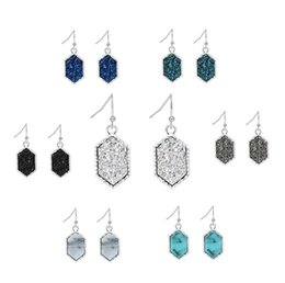 Wholesale turquoise heart stud earrings - Fashion Druzy Drusy Earrings Silver Gold Plated Popular Faux Stone Turquoise Charm Dangle Stud Earrings For Women Lady Jewelry