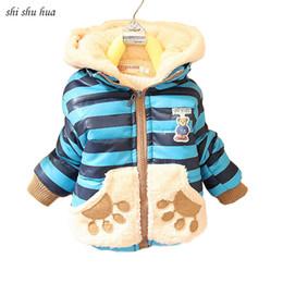 crianças vestindo roupas quentes Desconto Roupas de bebê menino roupas desgaste das Crianças Inverno urso dos desenhos animados do bebê casaco de algodão Quente de espessura listrado com capuz casaco quente venda Quente