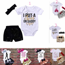 Wholesale Cute Baby Girl Romper Clothes - baby clothing girl Kids 3 PCS sets 100%Cotton short sleeve romper + paillette short +headband causal summer girl romper set girl clothes
