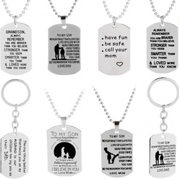Wholesale Mum Necklaces - To MY SON Dog Tag Pendant Necklaces & Keychain Military Love Mum Dad Necklace Father 's Day Necklace Gift