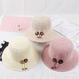 Wholesale grass pots - Summer Women Pot Cap Fashion Straw Hat Excursion Outdoors Sunscreen Fisherman Hats Designer Buckle Rope Solid Color 9qf Hh