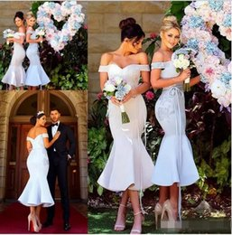 satin dresses Coupons - Off-Shoulder Bridesmaid Dresses Capped Sleeves Double Neck Lace And Satin Long Mermaid Wedding Party Dresses Cheap
