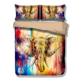 Edredón de marca online-Wongs Brand Elefante de colores Juego de sábanas estampadas Animal Funda nórdica Sábana de cama individual Queen King Size Bedlinen Ropa de cama 3 piezas