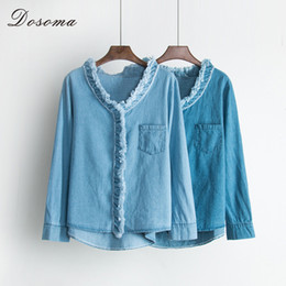 Wholesale Denim Womens Shirt - DOSOMA Ladies denim top ruched ripped womens blouses washed bleached pockets tops for women spring women's vintage shirt blusas