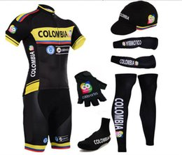 Wholesale fingers shoes - Complete set 2018 Colombia team cycling jersey summer bicycle wear with arm leg and half finger cycling gloves shoes covers