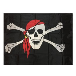 Wholesale Pirate Party Flags - 90x150cm Large Skull Headband Crossbones Pirates Flag Jolly Roger Roger Hanging With Grommet For Ktv Bar Home Praty Decoration