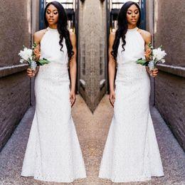 Hochzeitsgastkleider röcke online-Lace Mermaid Wedding Guest Kleid Günstige Beach Maid Of Honor Kleider bodenlangen zwei Stücke Brautjungfer Kleid Maß Mantel Spitzenrock