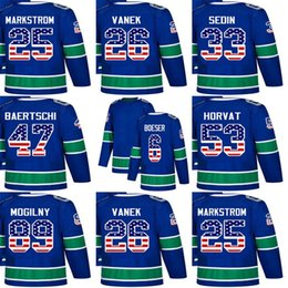 Cheap Custom Mens Momens Kids Vancouver Canucks 26 Thomas Vanek 33 Henrik  Sedin 47 Sven Baertschi 53 Bo Horvat USA Flag Ice Hockey Jerseys 0347f7518