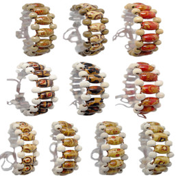 abacus gifts Promo Codes - Wooden Bead Bracelet Mix 10 Styles Adjustable Strands Chain Flower Floral Abacus Colorful Pattern Wood Beads Charm Unisex Bracelets (JM002)