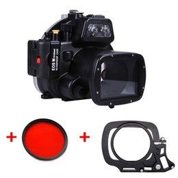 2019 filtros de lente de 55mm Estuche sumergible impermeable para cámara con cámara sumergible para cámara Canon EOS M EOS-M con lente 18-55mm + filtro rojo de 67mm + Adaptador para lente húmeda filtros de lente de 55mm baratos