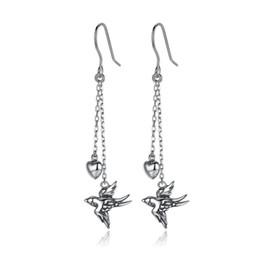 Acessórios de andorinha on-line-925 Sterling Silver Long Drop Brincos Fine Jewelry Andorinha Feminino Dangle Brincos Jóias Brincos Acessórios SCE005