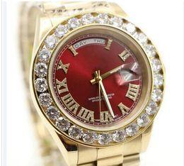 Wholesale Mens 18k Watch Diamond - 2017 President Day Date 18K Gold Perpetual fashion mens watch Big diamond Bezel Gold Stainless steel original strap Automatic men Watches