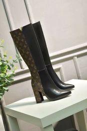 Bolsa de pierna impermeable online-Las mujeres calzan la bota impermeable de cuero larga de la pierna de los tacones altos Estilo puro del color, hebilla diversa y bolso