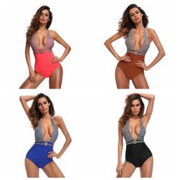 Traje de baño de una pieza sin espalda halter online-Las mujeres del verano del cordón del traje de baño de playa Deep V Sexy One Pieces traje de baño Halter Backless Bikini Suit LJJO4211