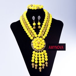 Wholesale unique chokers - Unique yellow Jewelry Beads Necklace Set Handmade Choker Costume Jewelry Set for Party Free Shipping
