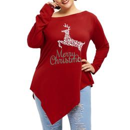 8c63081b25da3 Harajuku Women Plus Size 5 XL Merry Christmas Print Irregular Hem Long  Sleeve Tops tshirts Shirt shein poleras de mujer moda  TW christmas shirts  plus size ...