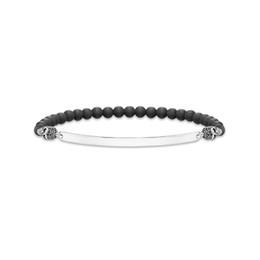 Pulsera de obsidiana negra online-6MM Matte Obsidian Strand Pulseras para Mujeres y Hombres Black Skull Beads Braceletes Silver Skeleton Fashion Jewelry Gifts