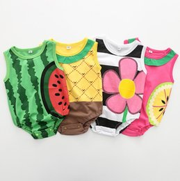 Wholesale Quality Infant Clothing - Newborn summer rompers sleeveless fruit series printing baby's cotton one-piece suits toddler infant jumpsuits kids clothing top quality