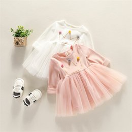 Wholesale Floral Mesh Dress - 2018 Ins style new arrivals Girls Lovely dress round collar long sleeve mesh patchwork dress 100% cotton girl kids elegant ins dress