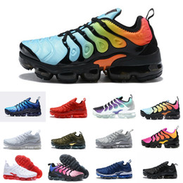 2018 Hot TN Plus VM Running Shoes M​‮vapormax​‬s Running Shoes Black White Sport Shock Sneakers for Mens air Olive Silver In Metallic
