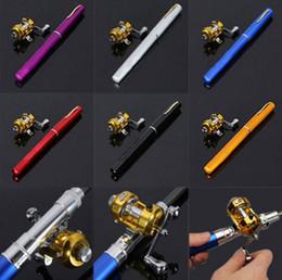 Wholesale Mini Pocket Fishing Pole - Mini Portable Aluminum Alloy Pocket Pen Shape Fish Fishing Rod Pole With Reel 6 Colors Wholesale