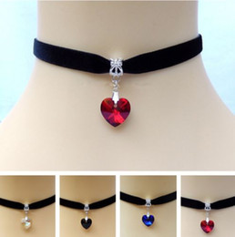 Wholesale victorian silver plate - Heart Crystal Victorian Choker Necklace Vintage Goth Velvet Chokers Necklaces & Pendants For Women Jewelry