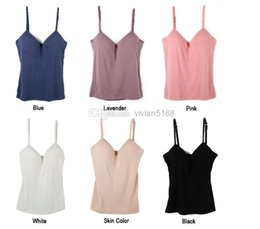 Wholesale Black Tank Pad - Sexy Modal Adjustable Spaghetti Strap Tank Tops Built In Bra Padded Self Mold Bra Tank Top Camisole Women Bodybuilding Vest T-Shirt 6 Colour