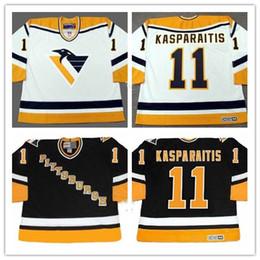 Personalizado XS-5XL DARIUS KASPARAITIS Pittsburgh Penguins 1998 CCM Branco Preto Reminiscência Qualquer Nome Qualquer Nome De Hóquei Jersey Frete Grátis cheap hockey throwback de Fornecedores de retrocesso de hóquei