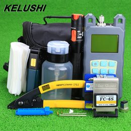 Wholesale Optics Kits - KELUSHI 19pcs set FTTH Tool Kit with FC-6S Fiber Cleaver and Optical Power Meter 10mW Visual Fault Locator Fiber Optic Stripper