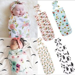 Wholesale baby blanket patterns - 2Pcs Set Newborn Fashion Baby Swaddle Blanket Baby Sleeping Swaddle Muslin Wrap Headband Swaddle Wraps Sleepsacks KKA5333