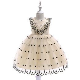 Trajes de dança pavão on-line-Vestidos da menina do bebê 2019 moda Bordado Pavão Dot TuTu Princesa Vestidos de Casamento Traje de Dança de Desempenho Vestidos de Baile Vestidos de Noite