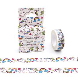 animais de fita ishi Desconto 15mm * 10 m Estilo Bonito Dos Desenhos Animados do Arco Íris Animais Unicorn Washi Tape DIY Fita Adesiva Scrapbooking Escola Material de Escritório 2016