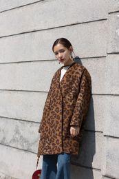 Wholesale Wollen Coats - 2017 Winter Women Fashion Designer Leopard Wollen Coat Thick Long Warm Loose Split Party Long Sleeves Luxury Femme Clothes