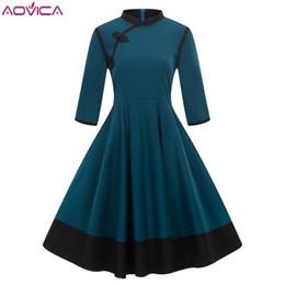 a32574967d9 Aovica 3XL 4XL Plus La Taille Femmes Vêtements Pin Up Vestidos Automne  Hiver Rétro Casual Party Robe Rockabilly Années 50 Robes Vintage