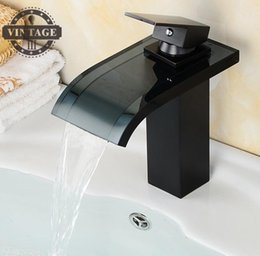 Wholesale Glass Led Tap - LED Bathroom Basin Faucet Black Brass & Glass Mixer Tap Waterfall Faucet Hot Cold Crane Basin Tap Water Powered
