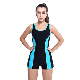 f4a5e92ab3a hot plus size swimwear Promo Codes - Boyshorts Bodysuit Plus Size Women  Racing Copmetition Swimwear Conservative