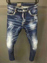 Micro jeans en Ligne-18 saison nouveaux jeans hommes d2 Slim pieds locomotive micro-explosive stéréo couture couture chaos patch en lambeaux
