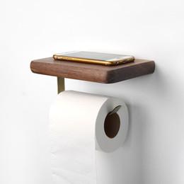 serviettes en papier salle de bains Promotion Porte-rouleau en noyer noir Porte-serviettes en bois Boîte à mouchoirs Porte-papier hygiénique Porte-papier hygiénique Tablette Étagère de rangement Accessoires de salle de bain